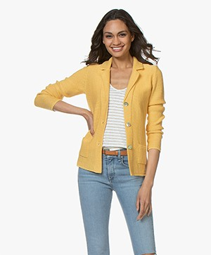 Belluna Cassoni Linen Blend Knitted Blazer - Ocre