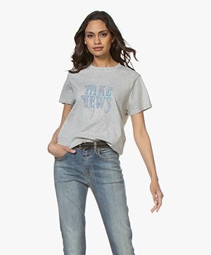IRO Hothead Fake News Print T-shirt - Light Grey