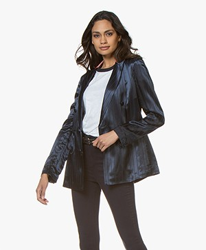Rag & Bone Ryan Satijnen Krijstreep Blazer - Night Blue