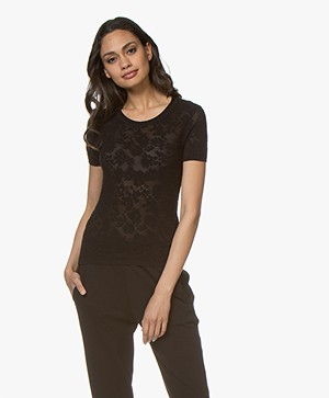 Rag & Bone Perry Ausbrenner Bloemendessin T-shirt - Zwart