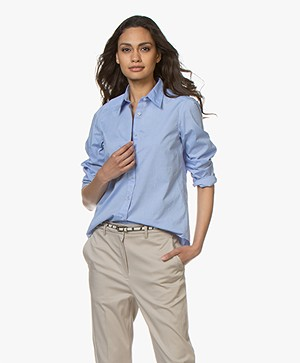 no man's land Cotton Poplin Shirt - Azure