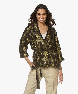 Mes Demoiselles Magique Lurex Kimono Blazer - Black