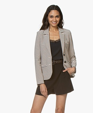 Repeat Striped Jersey Blazer - Light Beige/Navy