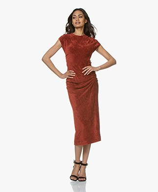 By Malene Birger Terry Velours Midi Jurk - Red Clay