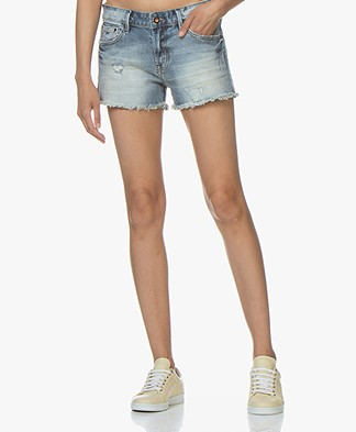 Denham Monroe Denim Shorts - Disressed Blue