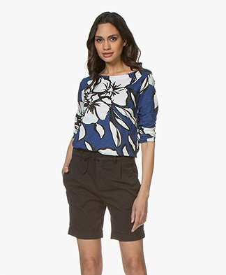 Majestic Filatures Linen Print T-shirt - Positano Blue