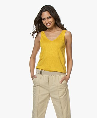 Majestic Filatures Linen Blend V-neck Top - Topaze