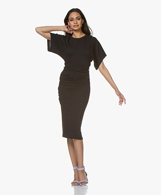 IRO Elfin Pleated Jersey Midi Dress - Black