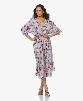 IRO Liky Viscose Print Dress with Frills - Light Purple