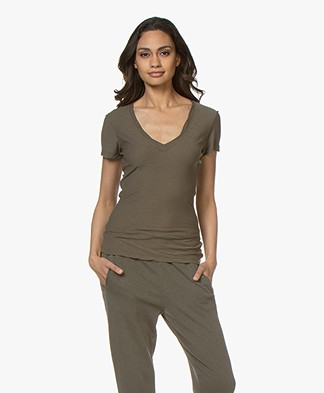 James Perse Slub Jersey V-neck T-shirt - Army Green