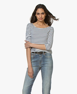Majestic Filatures Striped T-shirt with Cropped Sleeves - Milk/Denim
