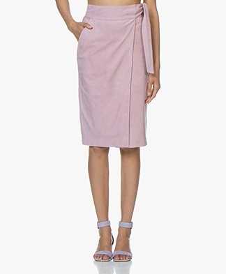 ba&sh Malica Suede Skirt - Pink Rose