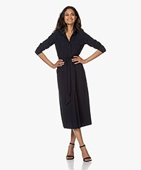 JapanTKY Fenya Fit & Flare Travel Jersey Shirt Dress - Black Blue