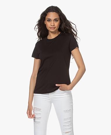 Vince Essential Crew Pima Katoenen T-shirt - Zwart