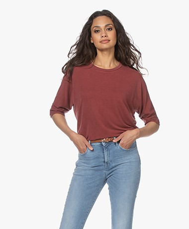 Majestic Filatures Soft Touch T-shirt met Halflange Mouwen - Blush