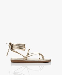 Ancient Greek Sandals String Flip Flop Leren Sandalen - Platinum