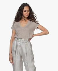 IRO Rodeo Linen V-neck T-shirt - Grey