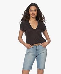 IRO Rodeo Linen V-neck T-shirt - Black