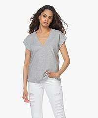 FRAME Le Mid Rise V-neck T-shirt - Grey Melange
