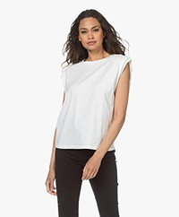 ANINE BING Tanner Sleeveless Top with Shoulder Pads - White