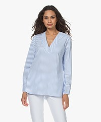 LaSalle Cotton Blend Striped Poplin Blouse - Seaside