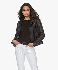 by-bar Leather Biker Jacket - Black