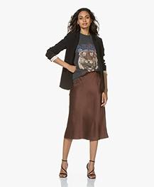Joseph Frances Silk-satin Midi Skirt - Raisin
