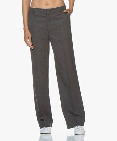 Filippa K Hutton Wool Crepe Trousers - Medium Grey Melange