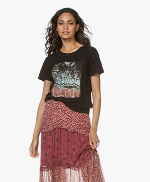 ba&sh Ted Slub Jersey T-shirt met Print - Zwart