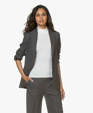 Filippa K Sonia Wool Crepe Blazer - Medium Grey Melange