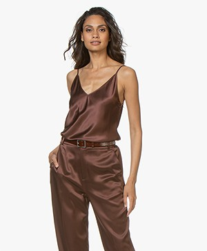 Joseph Cleo Silk-satin V-neck Top - Raisin