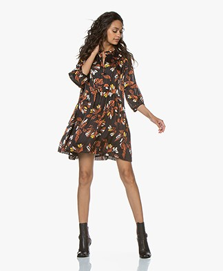 ba&sh Anita Chiffon Mini Dress with Print - Black