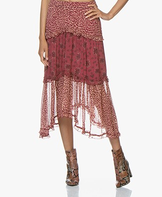 ba&sh Gapi Printed Chiffon Midi Skirt - Pink Rose