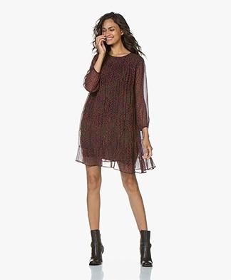 ba&sh Grace Pleated Chiffon Dress with Print - Purple