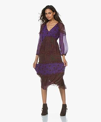 ba&sh Gypsie Printed Chiffon Midi Dress - Purple