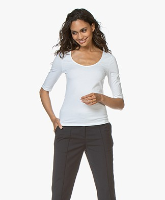 Filippa K Cotton Stretch Scoop Neck T-Shirt - Wit