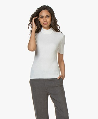 Drykorn Jary Silk Blend Ribbed Turtleneck Sweater - Off-white