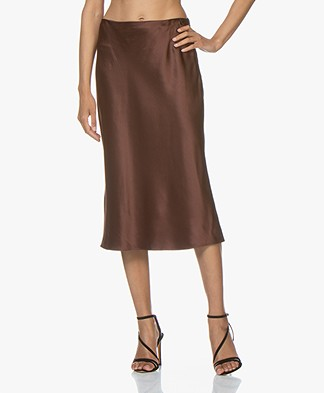 Joseph Frances Silk-satin Midi Skirt - Raisin