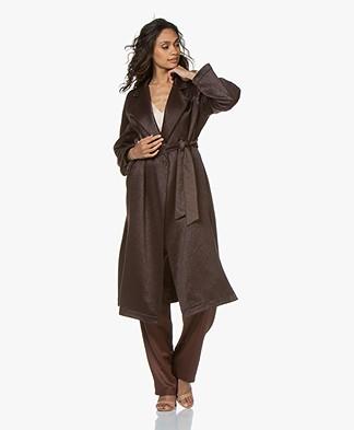 forte_forte Wool Blend Coat with Tie Belt - Mosto