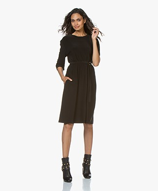 Norma Kamali Boyfriend Long Sleeve Tech Jersey Dress - Black