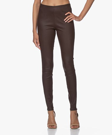 By Malene Birger Elenasoo Leather Leggings - Warm Brown
