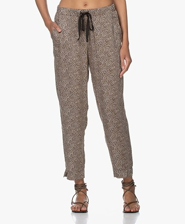 Plein Publique Lavande Viscose Printed Pants - Panther