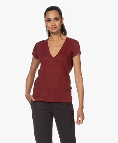 IRO Rodeo Linen V-neck T-shirt - Burgundy