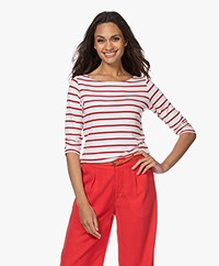 no man's land Striped Cropped Sleeve T-shirt - White/Red
