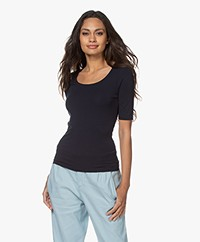 no man's land Viscose T-shirt met Halflange Mouwen - Dark Sapphire