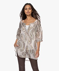 no man's land Silk Chiffon Tunic Blouse - Greige/Denim