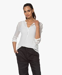 Pomandère Cotton-Silk Crinkle Blouse - Milky White