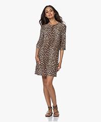 Equipment Aubrey Silk Mini Dress with Leopard Print - Beige