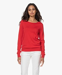 Repeat Cotton Blend Pullover - Red