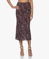 IRO Tell Silk Blend Midi Printed Skirt - Black